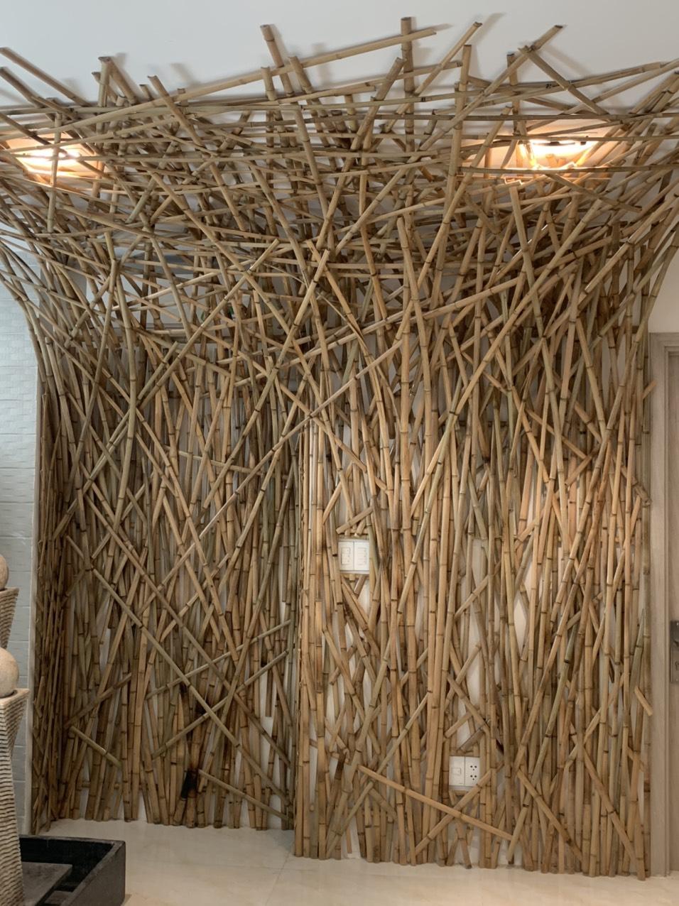Ốp tường trang trí bằng tre trúc sáng tạo
